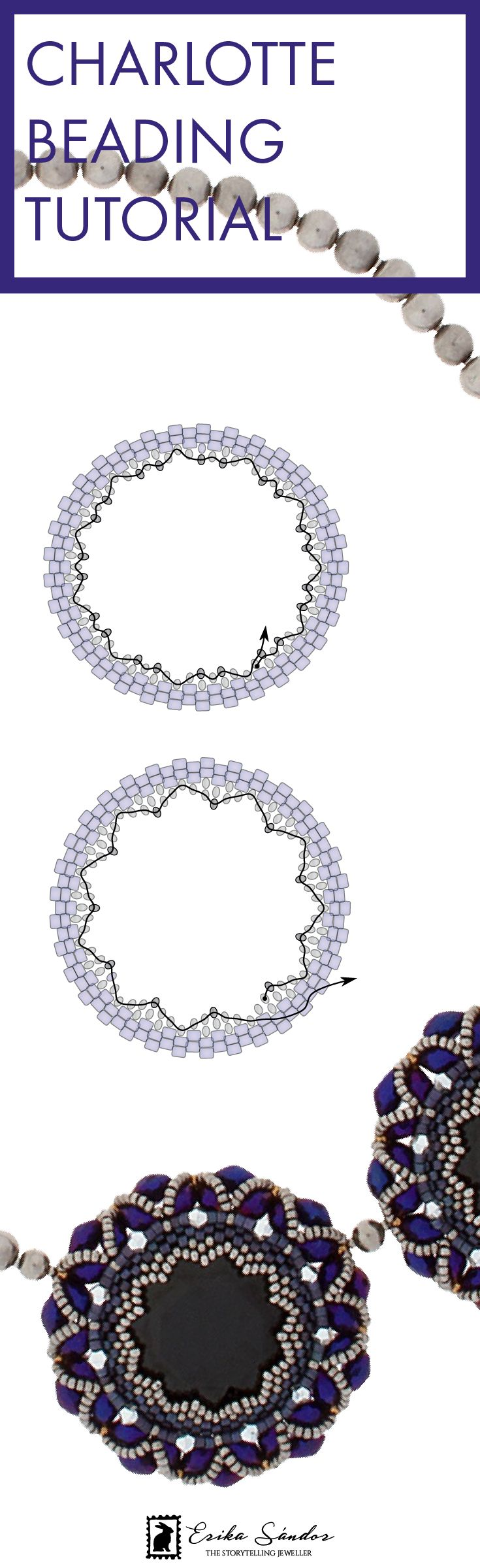 Beaded necklace tutorial / pattern / instructions with step-by-step diagrams. Beadwoven necklace / medallion / pendant with Miyuki beads, Swarovski cabochon 27 mm rivoli, olive beads and seed beads. Design by Erika Sandor The Storytelling Jeweller.