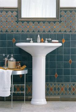 Bathroom with teal & taupe tile - Moroccan & diamond/harlequin borders - by Filmore Clark
