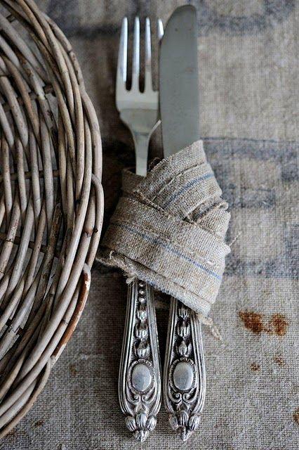 Boho Napkin Ring: rustic silver wrap #DIY #burlap