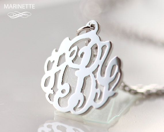 New initals on your wedding day? Monogram necklace  Sterling silver by MarinetteJewelry on Etsy, $54.00
