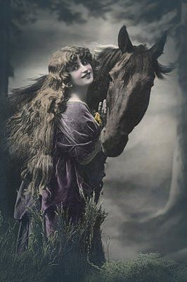 Vintage Woman with horse