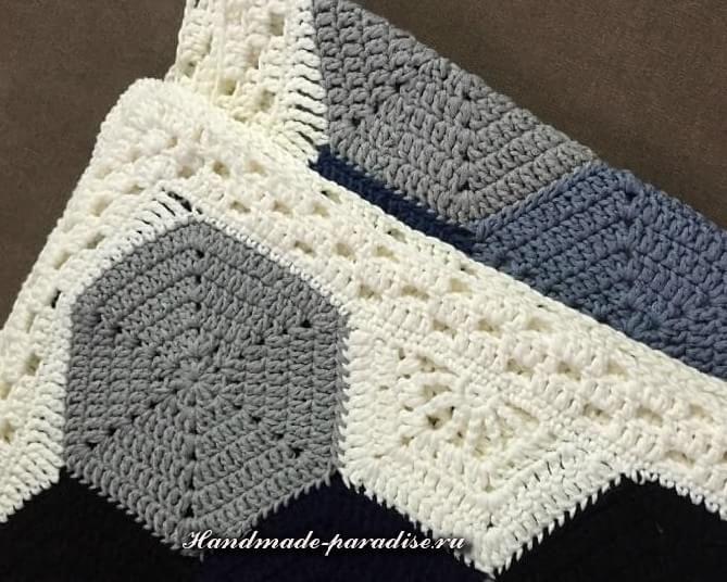 Crochet plaid motivi esagonali 3 uncinetto rosoni - Piastrelle esagonali uncinetto ...