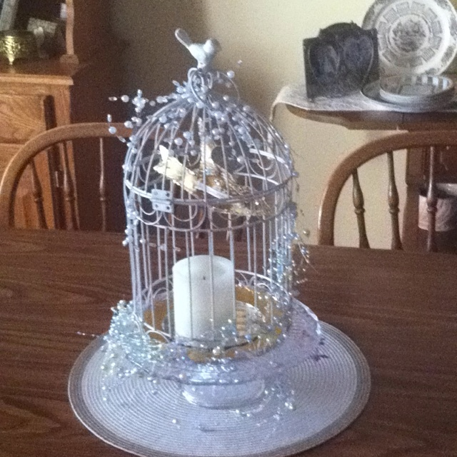 Beautiful white and gold birdcage centerpiece with battery