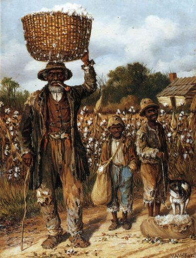william aiken walker negro man two boys and dog in cotton field paintings