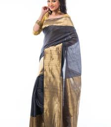 Buy Grey hand_woven silk saree with blouse tussar-silk-saree online