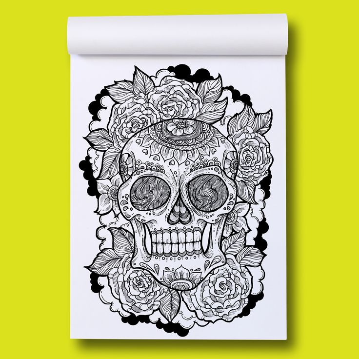 Page out of Eye-Scream Sunday A colouring book by Romzillustration.com Skull & Roses