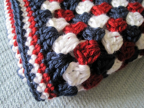 Crochet Baby Child Afghan Red White Blue Granny By