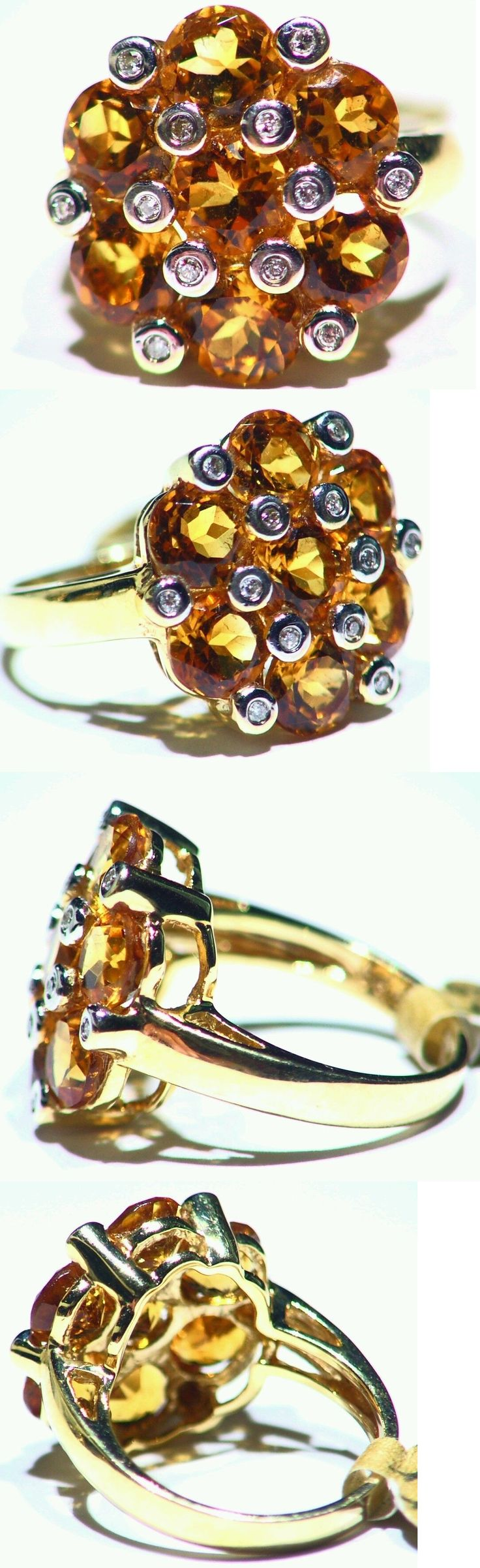 Rings 165014: 5.66Ct 14K Gold Natural Citrine Cut Diamond Vintage Wedding Engagement Ring BUY IT NOW ONLY: $381.0