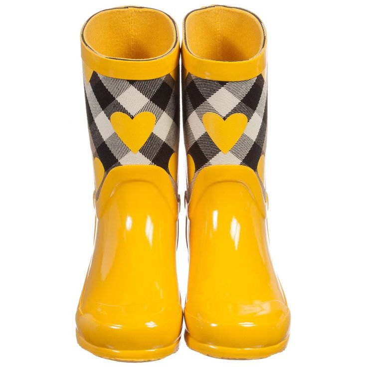 Burberry - Girls Yellow Wellies with House Check & Hearts | Childrensalon