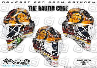 The Rautio Code - David Rautio, Luleå HF, SHL, 2013. David´s new #SHL mask is created as an old school mask, totally breathing Luleå HF to 100%. And it is all created in an old style with lots and lots of cool scratches and marks. And the closer you look, the more details you will discover. You will find the Swedish mountains of Lapporten here, and the key to the town of Luleå, and the bird Berguv, glittering Luleå HF snow flakes, and so much more…