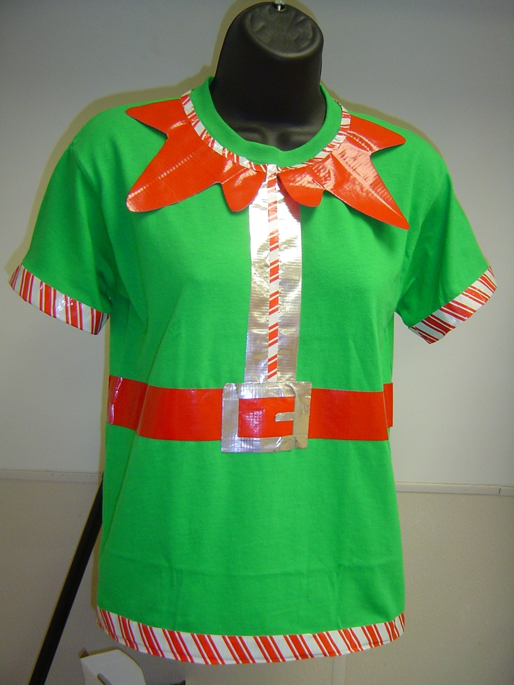 I made this Elf shirt with green t shirt, red, silver and striped Duck Tape.  The collar is taped on the underside as well so it stands out from shirt.
