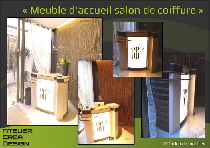 Meuble d 39 accueil salon de coiffure mes cr ations for Meuble coiffure
