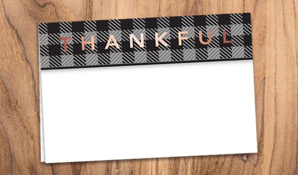 Black Plaid Thankful Greeting Card Greeting Cards Cards Business Stationery