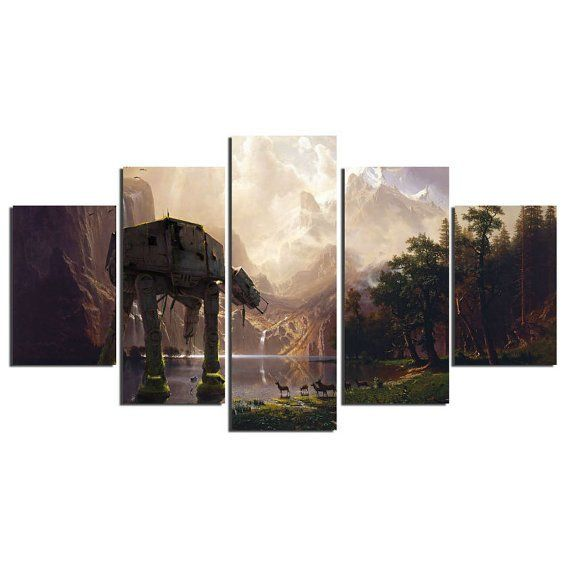 Star Wars At At Walker, 5 Panel Framed Canvas Wall Art