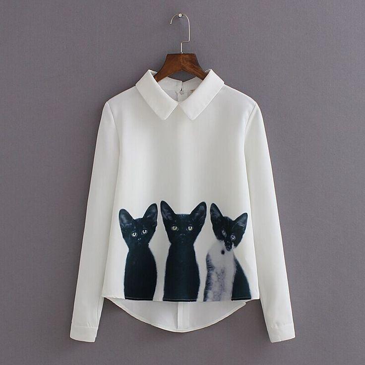 2017 New Autumn Chiffon Woman Blouse Back Zipper Blusas Feminina Cat Printed Shirt Women Blouses Vintage Blusa Shirts TM17022702