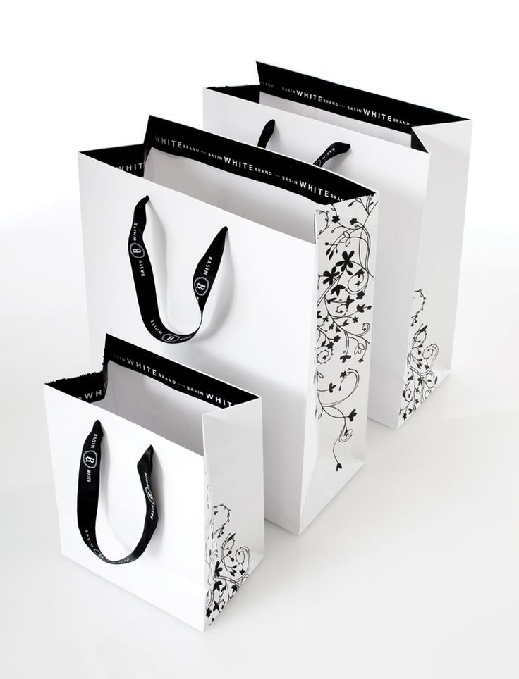 shopping bag - information on handles and interior rim... exterior of bags with varying designs - simple and elegant!