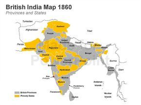 Our unique British India Map PPT Template showcases the princely states and British provinces such as Rajputana, Kashmir, Oudh, Bombay and Madras among others.  This map is popular among news agencies, students, researchers, teachers and business consultants. You can use it to create interesting infographics on British India quickly.   Browse through our collection of editable PowerPoint maps at our slide store.