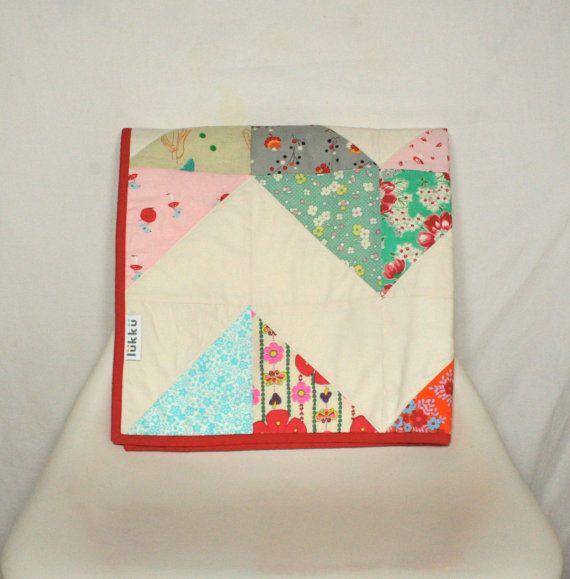 Modern handmade baby quilt by Lukku on Etsy, $159.00