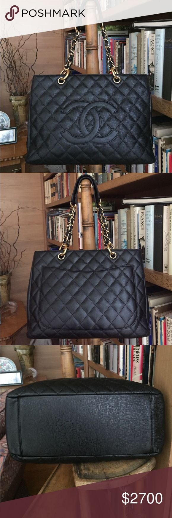 Authentic CHANEL Grand Shopper w dust bag Authentic CHANEL Grand Shopper black with gold hardware - in excellent condition - no scratches or stains - comes with dust bag and authenticity card - no risk because authentication will be verified by Poshmark - purchased at CHANEL store in Chicago - will negotiate - no lowballs please CHANEL Bags Shoulder Bags