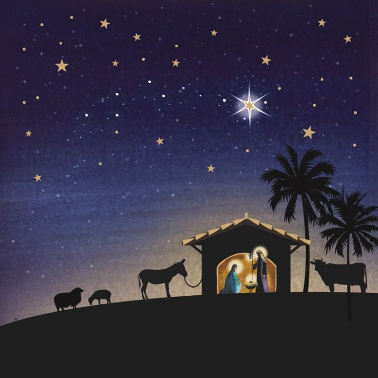 Starlit Nativity Tearfund Charity Christmas Cards