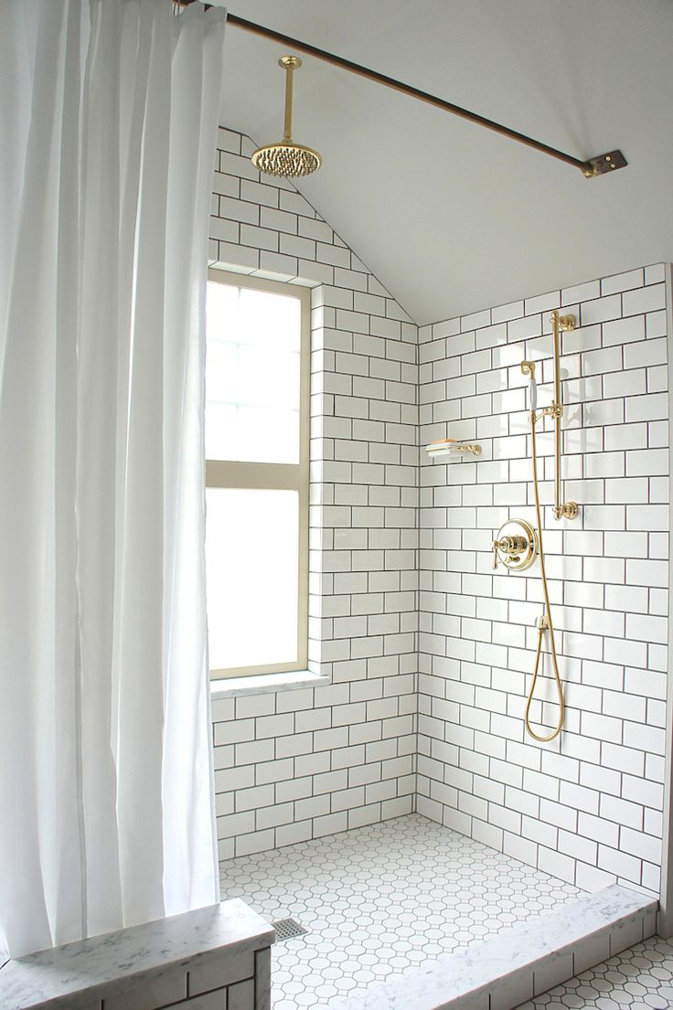 Attic Bathroom Design In White & Brass