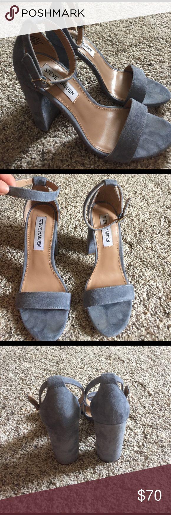 Steve Madden blue suede heels Super cute for spring! A great neutral heel! Steve Madden Shoes Sandals