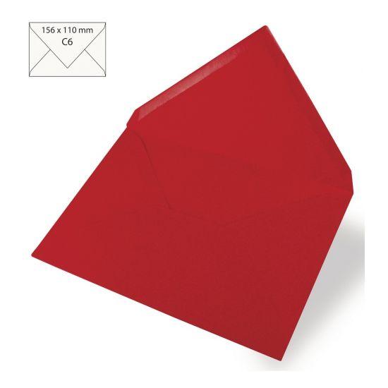 5 rode enveloppen voor A6 kaarten. Uni rode enveloppen in C6 formaat. Formaat: ongeveer 156 x 110 mm. Kwaliteit: 90 grams. U ontvangt 5 enveloppen in de kleur rood. Maar natuurlijk zijn deze enveloppen ook in andere kleuren verkrijgbaar.