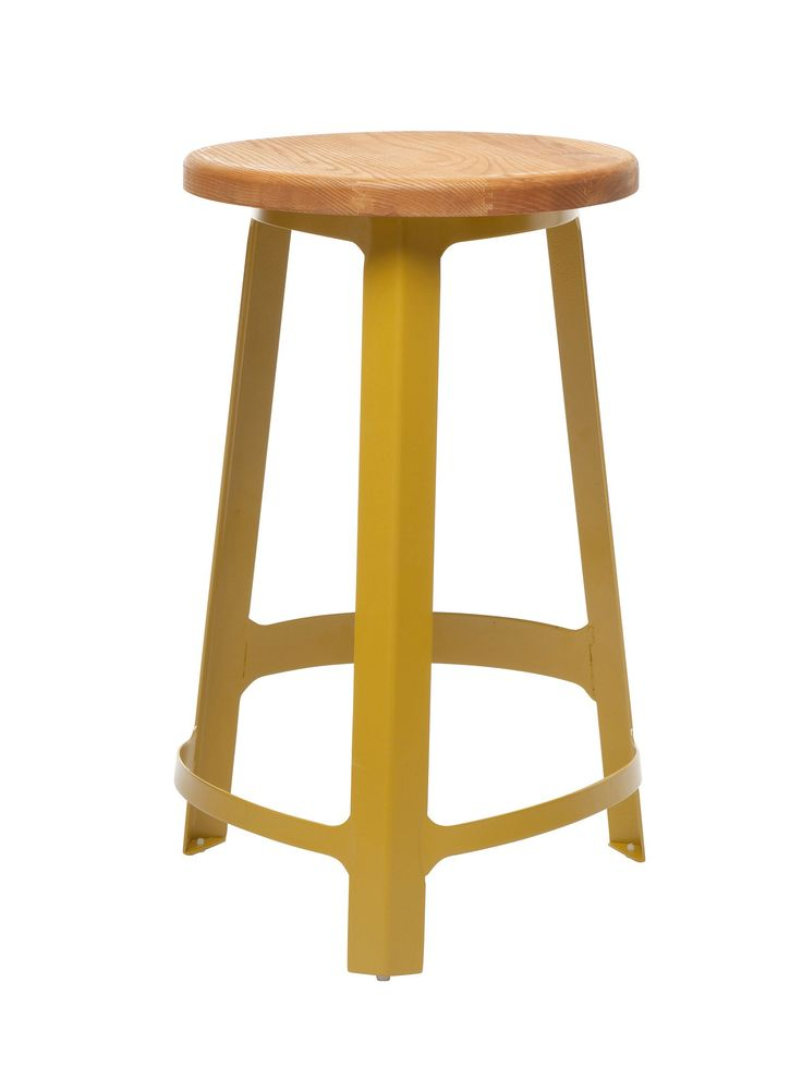 65 cm Sean Dix Factory Bar Stool Replica - Yellow -- These kitchen counter height, replica Sean Dix bar stools are of a classic, tripod design but are given a funky edge with their powder coated steel frame, available in a range of frame colours with an organic wooden seat. Perfect for a contemporary domestic kitchen bar or cafe, the replica Sean Dix Factory bar stools are a wonderful way to inject a splash of colour to any decor and with such a range of colour combinations, you're