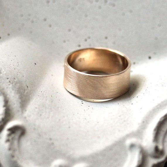 Herren Gold Eheringe 8 mm breit gebürstetem flach 10k