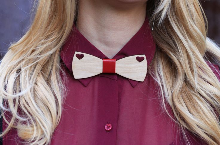 Bow Tie for Women, for Girl. Wooden bow tie. Leather bow tie. Hurt wood accessories. Cute bow tie. by BuffBowTie on Etsy