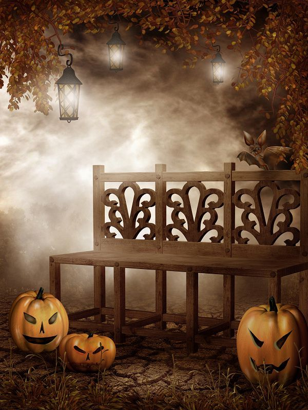 200cm150cm vinyl backdrops for photography Ye Wu bench pumpkin  halloween backdrop photographic background WSJ-048
