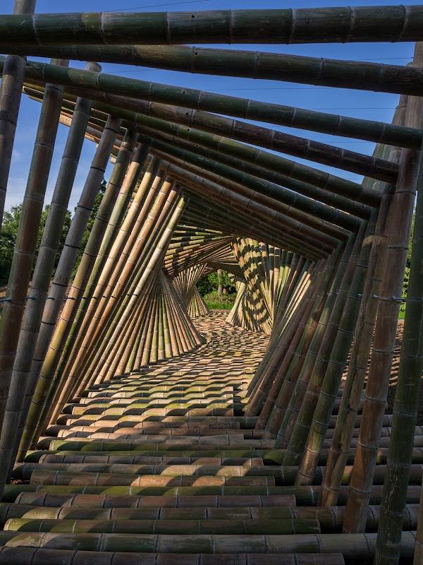 K082 「LACHIKU」 岩城和哉+東京電機大学岩城研究室。  竹で出来た回廊。結構滑る。