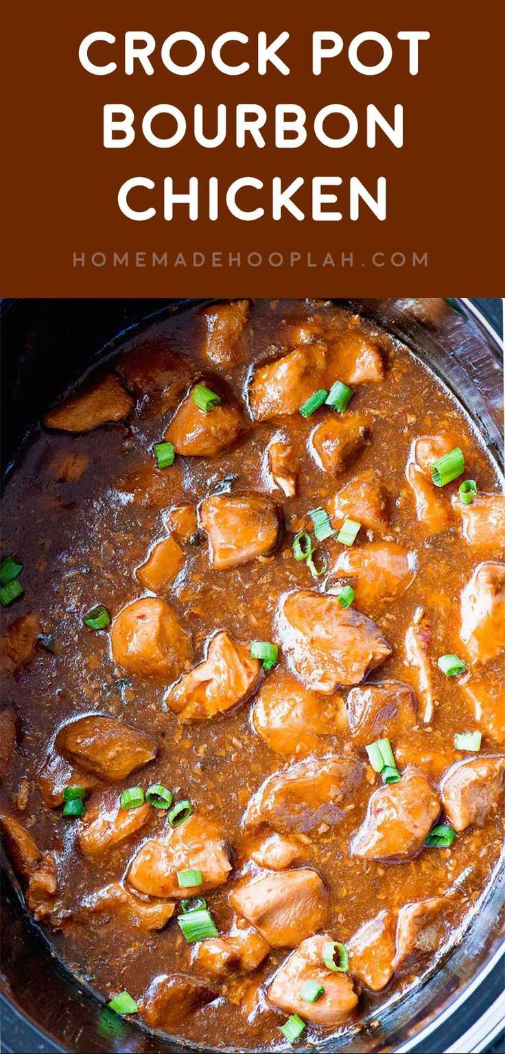 """Crock Pot Bourbon Chicken! A """"base"""" recipe for bourbon chicken made right in your crock pot. Many flavors make up the dish, and you can easily adjust the amounts to suit your taste! 