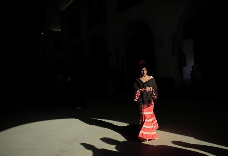 A pilgrim walks in the shrine of El Rocio.