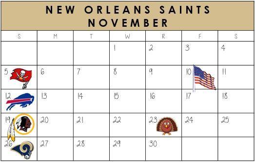 New Orleans Saints November Schedule 2017  #NewOrleans #NOLA #Saints #NFLSchedule #JordinsTurf