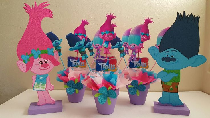 Trolls centerpieces and foam characters Poppy and Branch