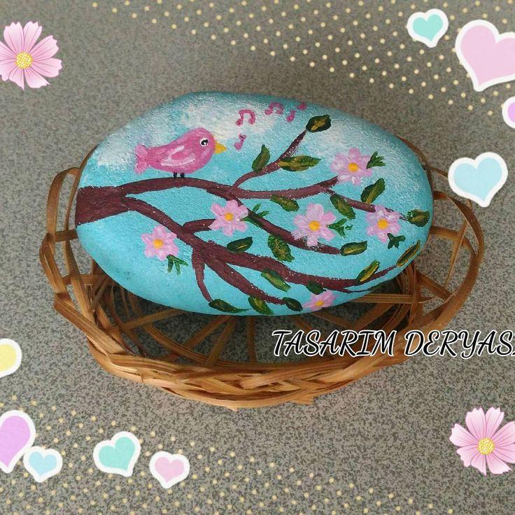 Bahar dalı  Spring branch 🎶🐦🌸🌼🌿🌈 #iyiakşamlar #goodevening #taşboyama #kuş #stonepainting #stone #happy #rockpainting #cute #bird #art #hobi #artist #paint #painting #artwork #handmade #diy #color #smile #colorful #like4like #likes #myart #tasarım #stoneart #siparişalınır #instagood #amazing #blue