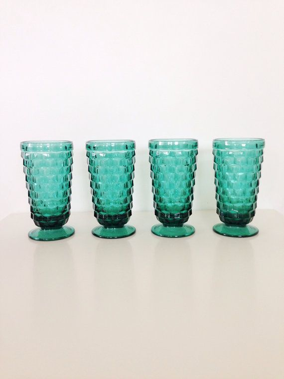Antique drinking Glassware | Vintage Teal Drinking Glasses Block Pattern by AnthologyHouse