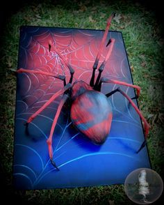 3D Spider Cake 3D Spider Cake I made this cake for my nephew. My sis asked me to make him something superhero-ish for his birthday. The board is... #spider #spider-web #halloween #halloweencake #cakecentral
