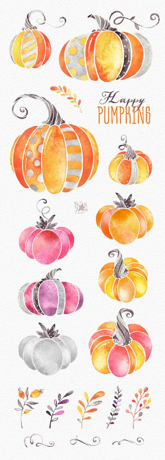 Watercolor books for kids - Watercolor Clipart Halloween Thanksgiving Fall Autumn Harvest Greeting Invite Floral Print Kids Diy Png