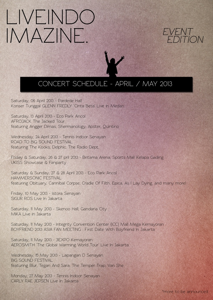 Even Edition : Concert Schedule April / May 2013