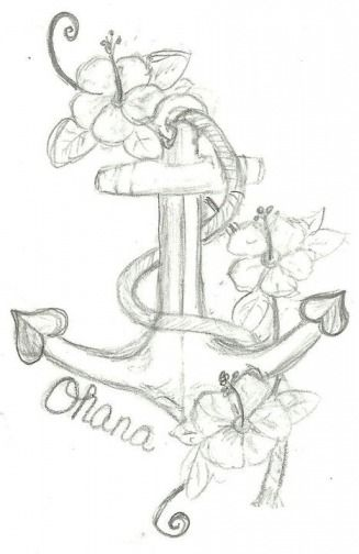 so i have been wanting to get a tattoo to represent my kids and what them my family meant in my life here is a sketch i drew up 3 floweers for my 3 kids anchor and Ohana (ohana means family) anchor cause my kids and family are a anchor in my life  i think
