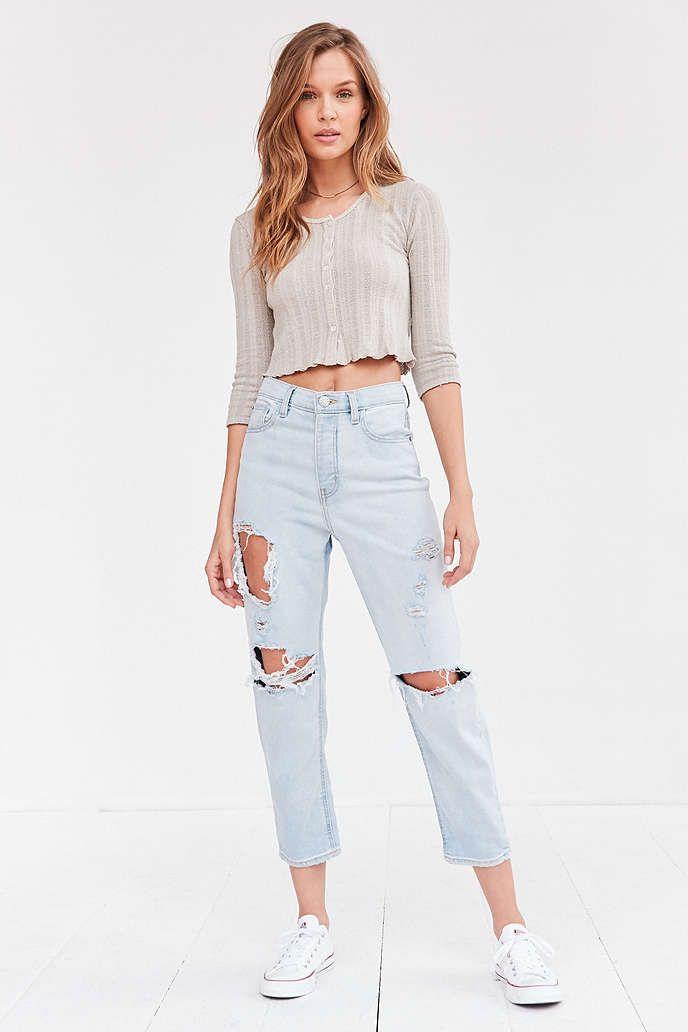 BDG Girlfriend High-Rise Jean - Light Blue Slash - Urban Outfitters