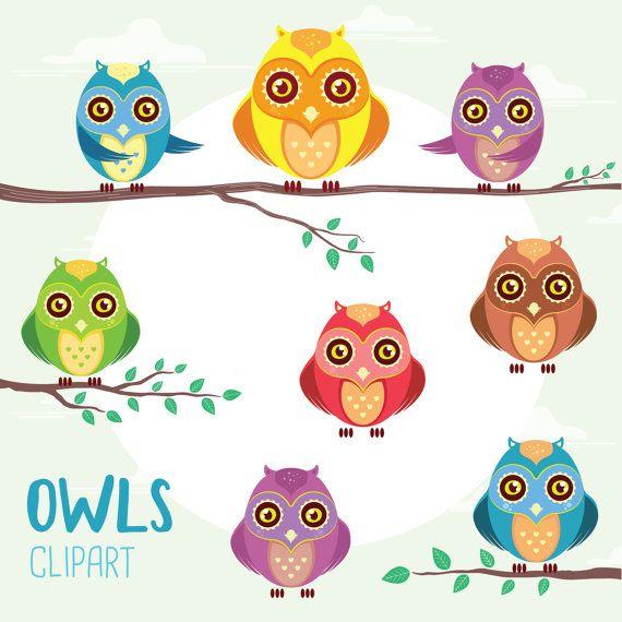 Cute OWLS Clip Art. Digital Owls Clipart. by TheCutePaperStudio