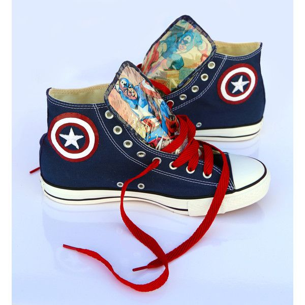 Captain America Converse shoes ($100) ❤ liked on Polyvore featuring shoes, shoes/boots, converse footwear and converse shoes