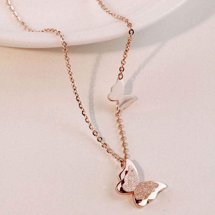2015 Summer Style Smart Butterfly Pendant Necklace For Woman Titanium Steel Rose Gold Plated Fashion Jewelry Gift Free Shipping