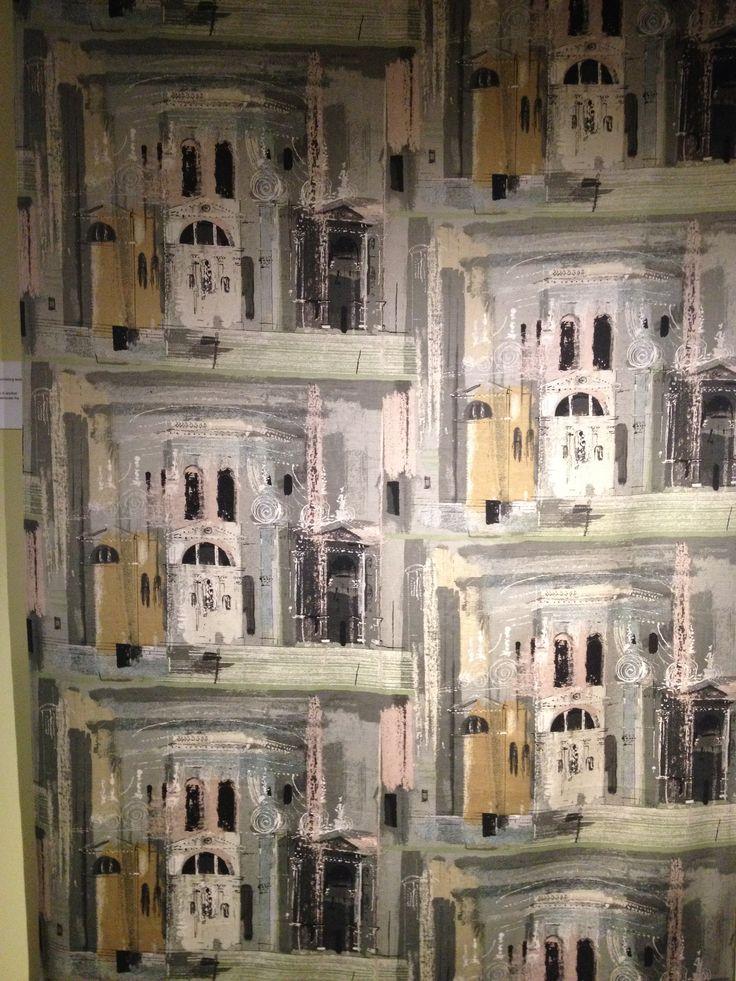 Artist print - john piper 'chimes a de la salute' screen printed 'sanderlin' sati twisted cotton furnishing textile Sanderson  Son Ltd.