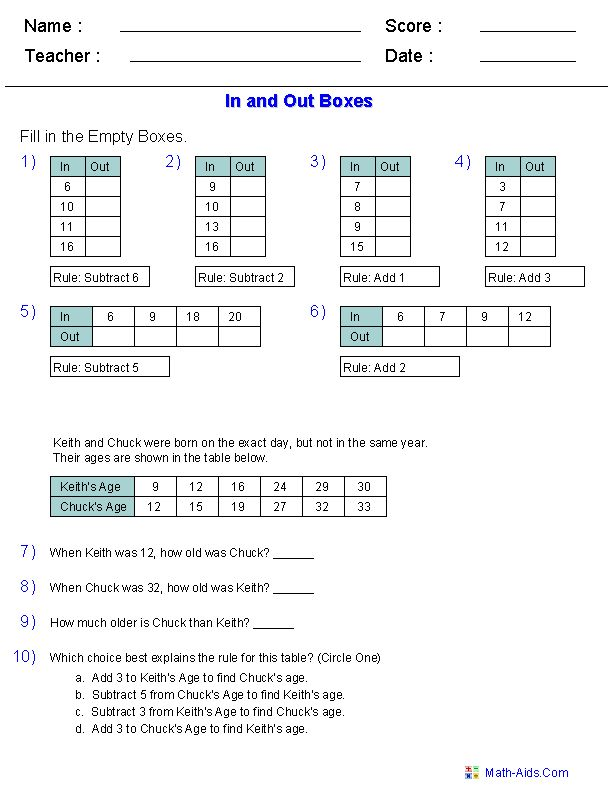 patterns functions and algebra worksheets