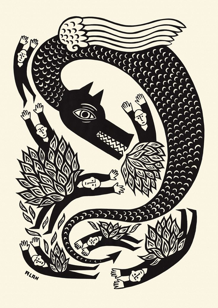 A black and white linocut illustration by Alan Rogerson, used by Mark Ecob in the design of Paul Kingsnorth's new novel Beast