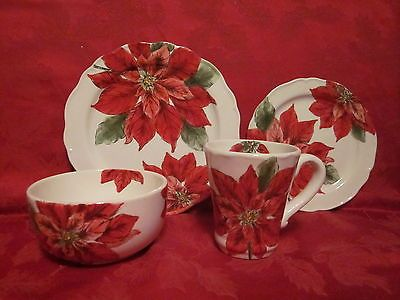 MAXCERA SKETCH POINSETTIA HOLIDAY CHRISTMAS SALAD DESSERT PLATES SET OF 4 NEW & 20 best Maxcera dinnerware images on Pinterest | Bunny Dinnerware ...